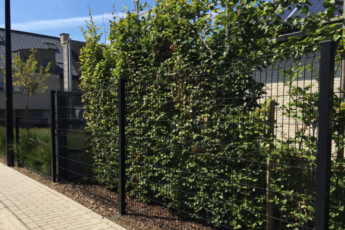 black wire fence panels