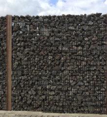 gabion baskets wooden poles
